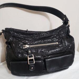 🌸Nine West Black Snake Embossed Hobo Shoulder Bag